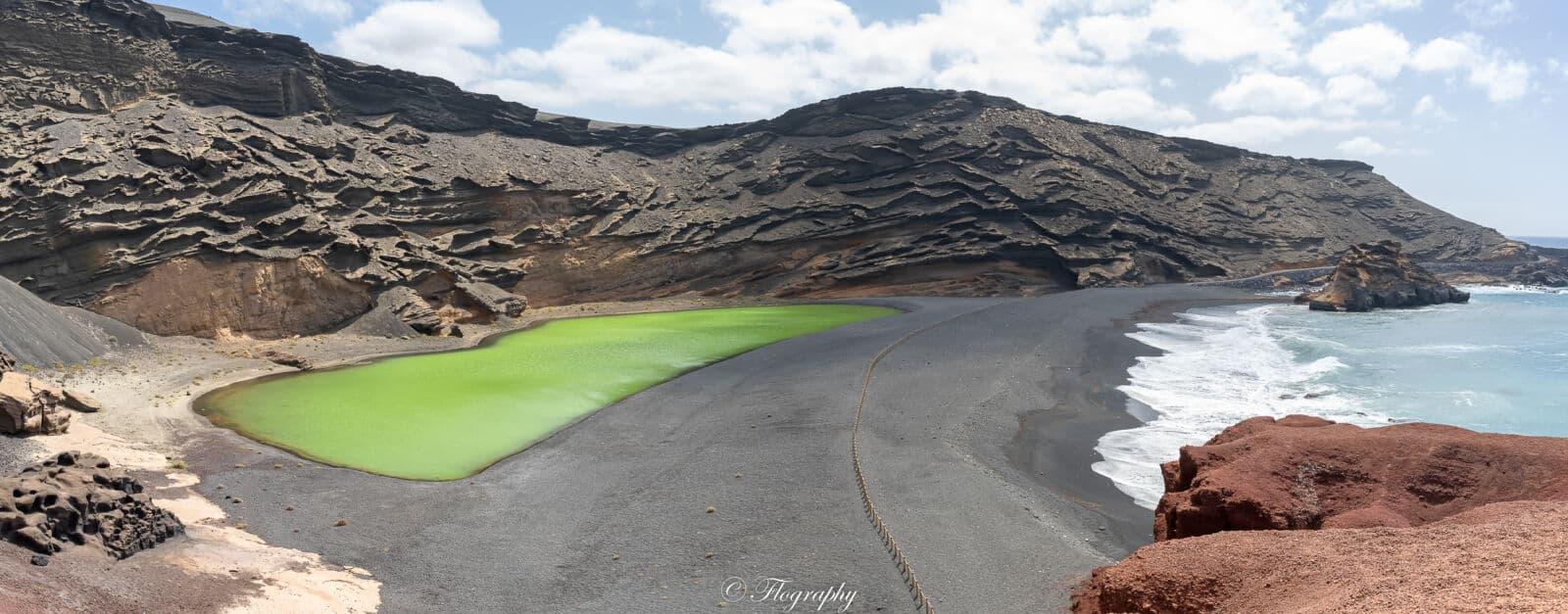 le lac vert de Charco de los Clicos à El Golfo à Lanzarote Canaries Espagne