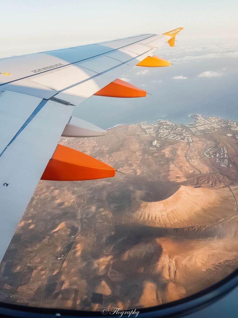 vue aérienne en avion de Fuerteventura