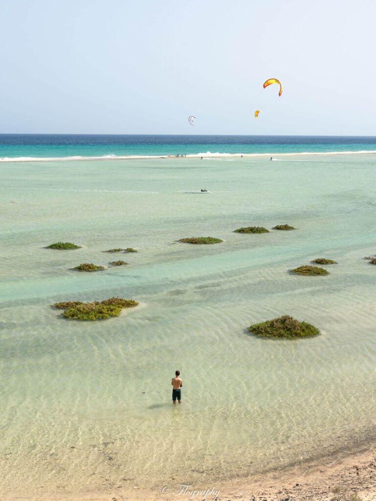 kitesurf à la lagune de Sotavento Fuerteventura