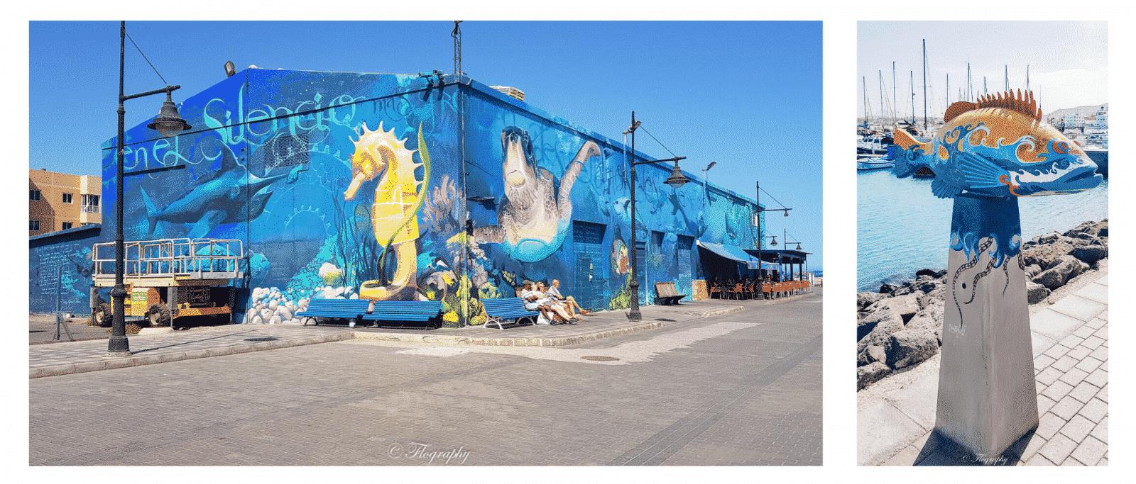 restaurant avec peinture de fond marin sur le port de Corralejo à Fuerteventura