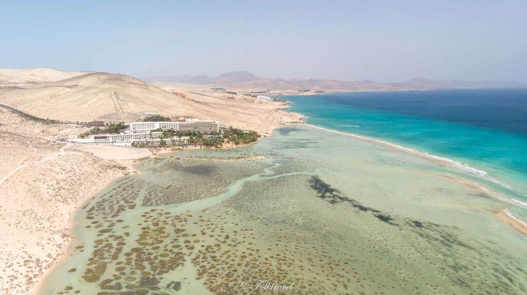 vue en drone de la lagune de Sotavento Fuerteventura