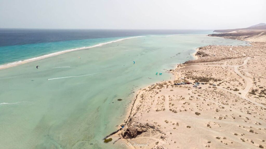 vue en drone Fuerteventura lagune sotavento