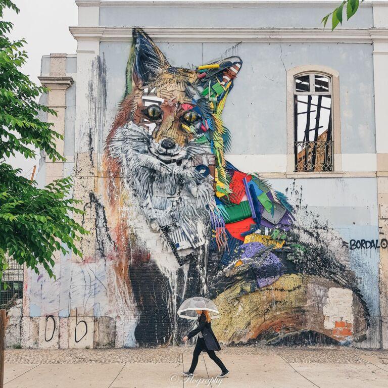 street art renard à Lisbonne au cais do sodre