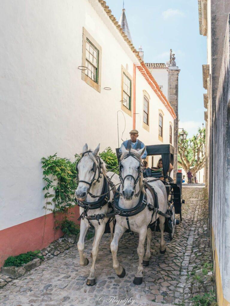 Calèche de chevaux à Obidos au Portugal promenade pour touristes