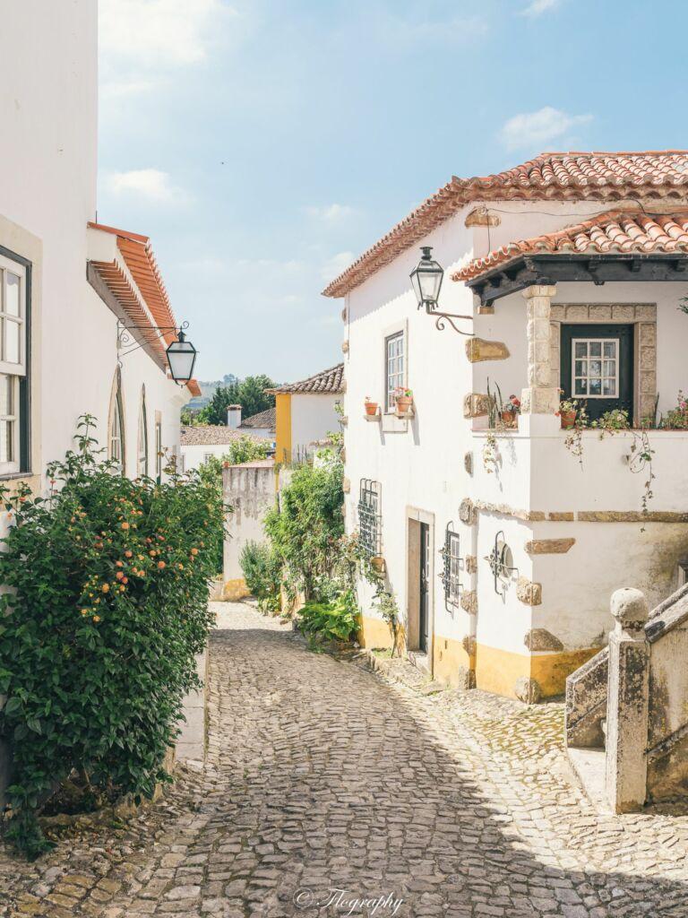 village d'Obidos au Portugal avec des maisons colorées et petite ruelle