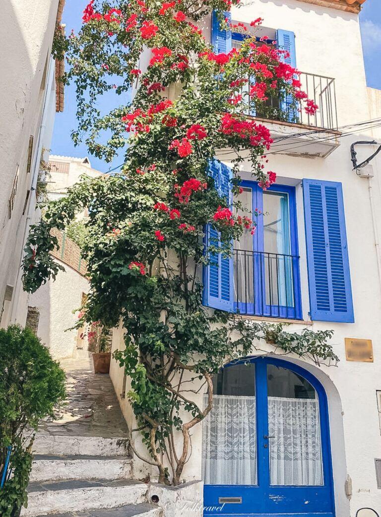 Maison fleurit bleue et blanche cadaques espagne costa brava